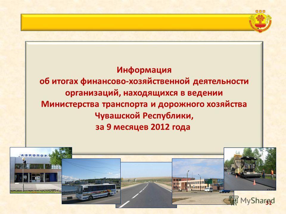Информация об итогах финансово-хозяйственной деятельности организаций, находящихся в ведении Министерства транспорта и дорожного хозяйства Чувашской Республики, за 9 месяцев 2012 года 31