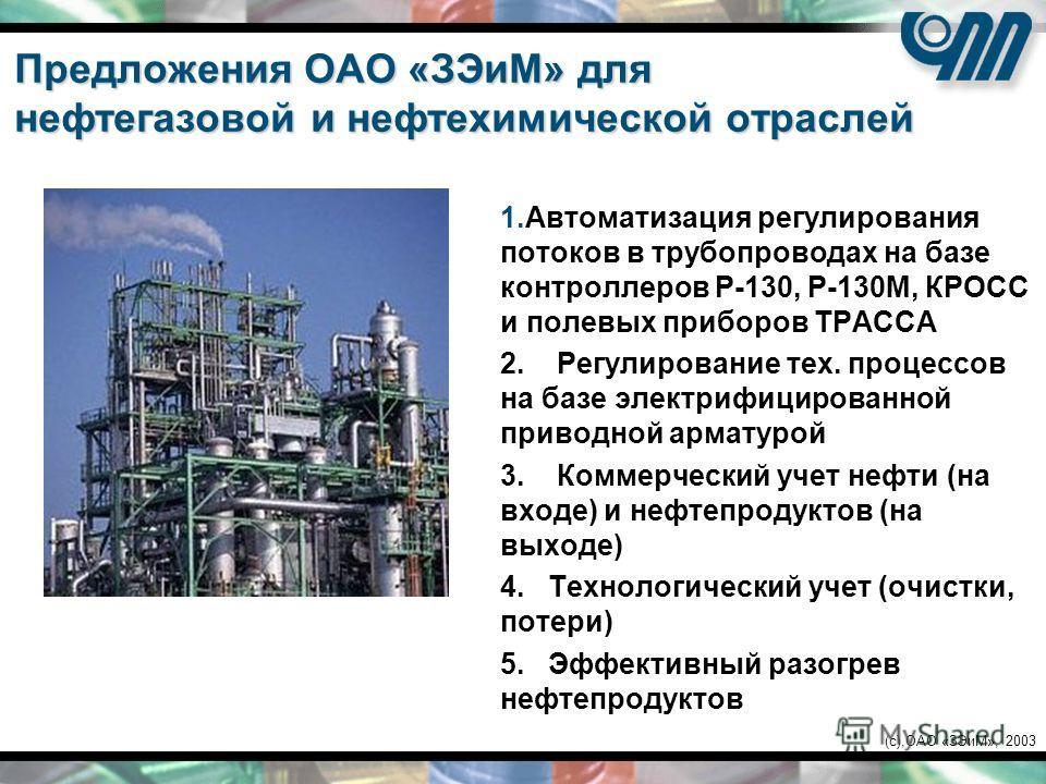 (c),ОАО «ЗЭиМ», 2003 Предложения ОАО «ЗЭиМ» для нефтегазовой и нефтехимической отраслей 1.Автоматизация регулирования потоков в трубопроводах на базе контроллеров Р-130, Р-130М, КРОСС и полевых приборов ТРАССА 2. Регулирование тех. процессов на базе