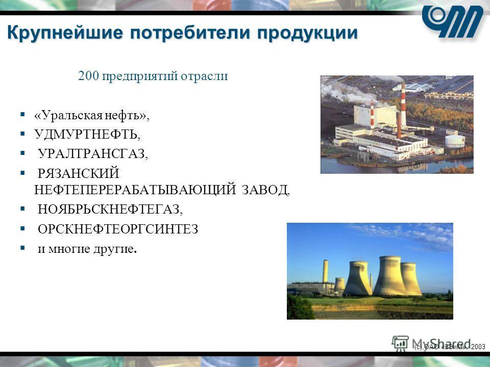(c),ОАО «ЗЭиМ», 2003 Крупнейшие потребители продукции 200 предприятий отрасли «Уральская нефть», УДМУРТНЕФТЬ, УРАЛТРАНСГАЗ, РЯЗАНСКИЙ НЕФТЕПЕРЕРАБАТЫВАЮЩИЙ ЗАВОД, НОЯБРЬСКНЕФТЕГАЗ, ОРСКНЕФТЕОРГСИНТЕЗ и многие другие.