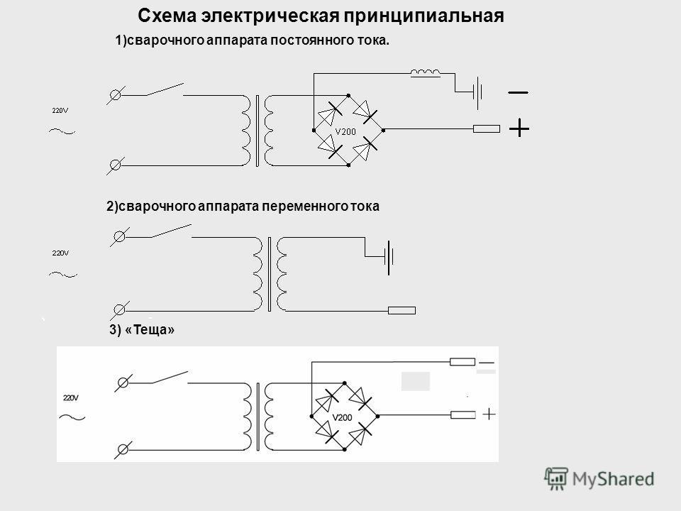Схема электрическая принципиальная 3) «Теща» 1)сварочного аппарата постоянного тока. 2)сварочного аппарата переменного тока