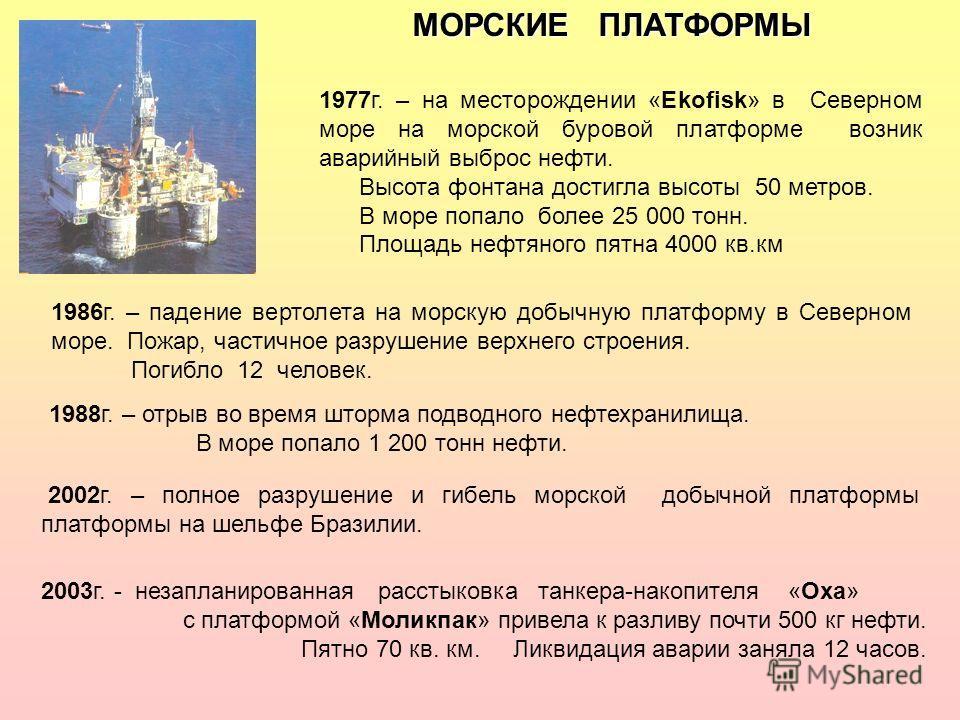 МОРСКИЕ ПЛАТФОРМЫ 1977г. – на месторождении «Ekofisk» в Северном море на морской буровой платформе возник аварийный выброс нефти. Высота фонтана достигла высоты 50 метров. В море попало более 25 000 тонн. Площадь нефтяного пятна 4000 кв.км 1986г. – п