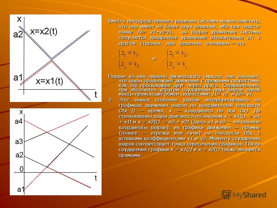 Вместо непосредственного решения системы можно заметить, что она имеет не более двух решений, ибо при подста новке z2= v1+v2-z1, во второе уравнение системы получается квадратное уравнение относительно z1; с другой стороны, два решения очевидны э
