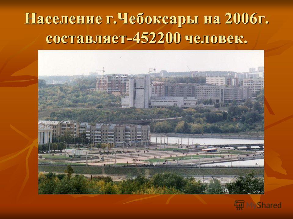 Население г.Чебоксары на 2006г. составляет-452200 человек.