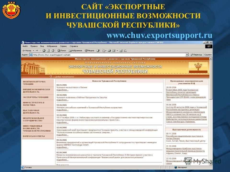 САЙТ «ЭКСПОРТНЫЕ И ИНВЕСТИЦИОННЫЕ ВОЗМОЖНОСТИ ЧУВАШСКОЙ РЕСПУБЛИКИ» www.chuv.exportsupport.ru