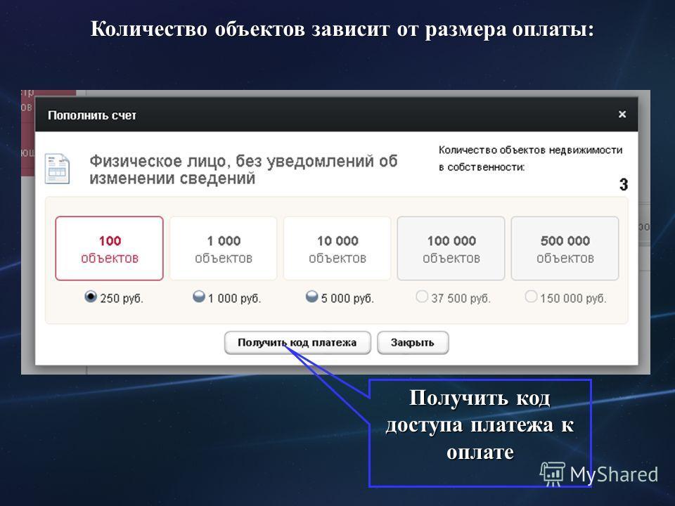 Количество объектов зависит от размера оплаты: Получить код доступа платежа к оплате