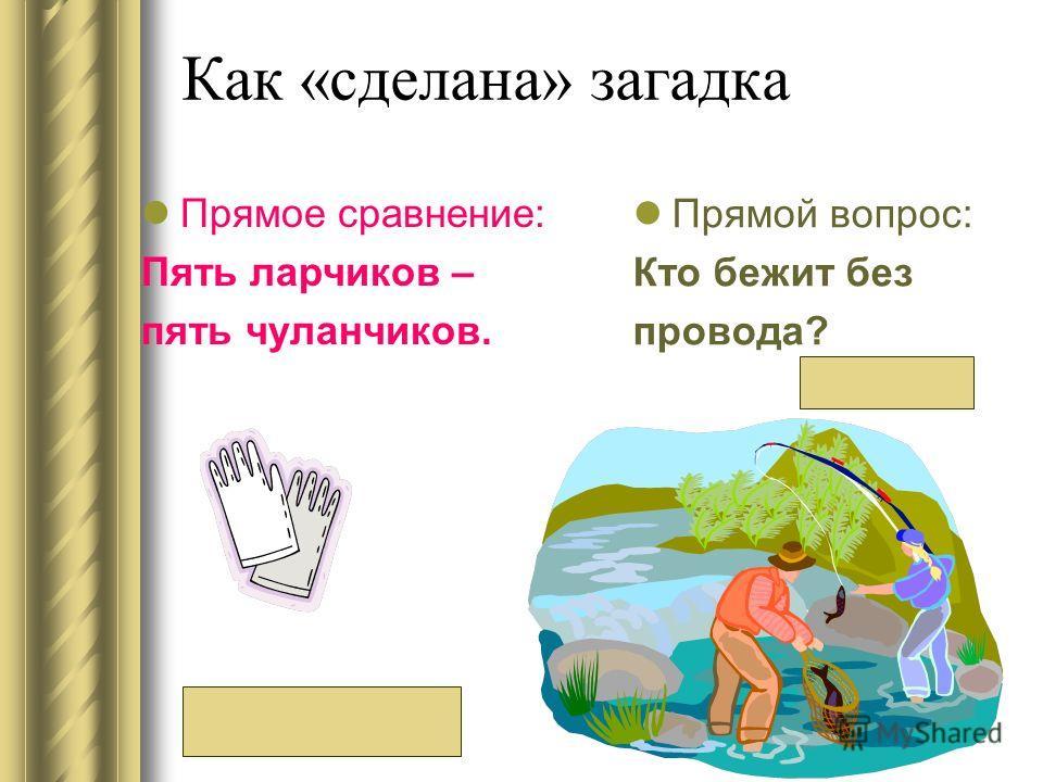Как «сделана» загадка Прямой вопрос: Кто бежит без провода? Прямое сравнение: Пять ларчиков – пять чуланчиков. (Перчатка) (Река)