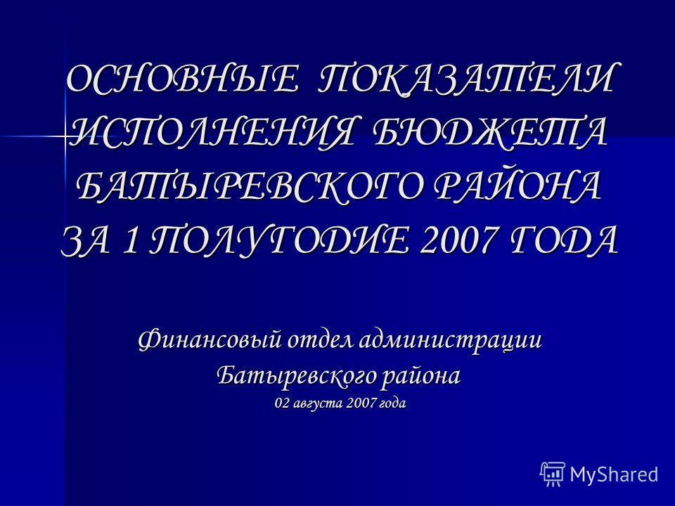 ОСНОВНЫЕ ПОКАЗАТЕЛИ ИСПОЛНЕНИЯ БЮДЖЕТА БАТЫРЕВСКОГО РАЙОНА ЗА 1 ПОЛУГОДИЕ 2007 ГОДА Финансовый отдел администрации Батыревского района 02 августа 2007 года