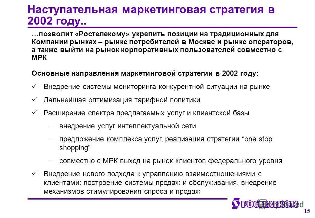 ф Ростелеком 15 Наступательная маркетинговая стратегия в 2002 году.. …позволит «Ростелекому» укрепить позиции на традиционных для Компании рынках – рынке потребителей в Москве и рынке операторов, а также выйти на рынок корпоративных пользователей сов