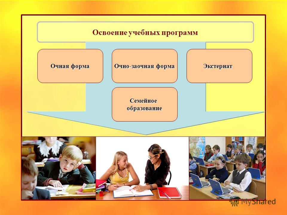 Освоение учебных программ Очно-заочная форма Очная форма Экстернат Семейноеобразование
