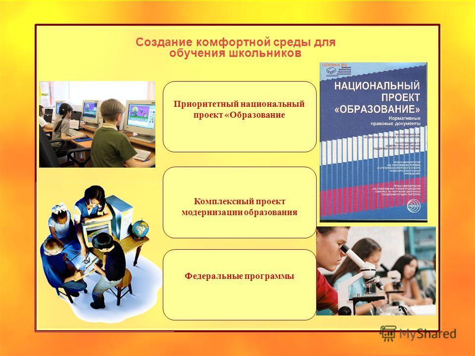 Создание комфортной среды для обучения школьников Приоритетный национальный проект «Образование Комплексный проект модернизации образования Федеральные программы
