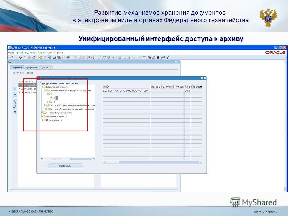 Развитие механизмов хранения документов в электронном виде в органах Федерального казначейства Унифицированный интерфейс доступа к архиву