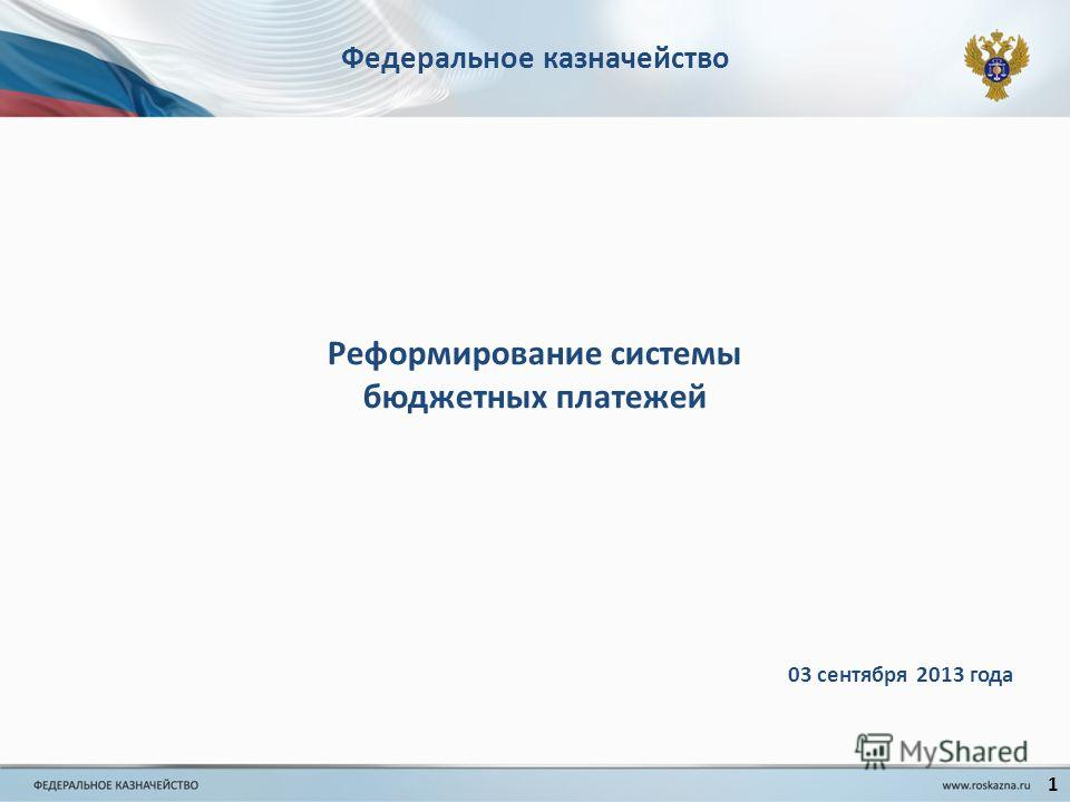 Федеральное казначейство 1 03 сентября 2013 года Реформирование системы бюджетных платежей