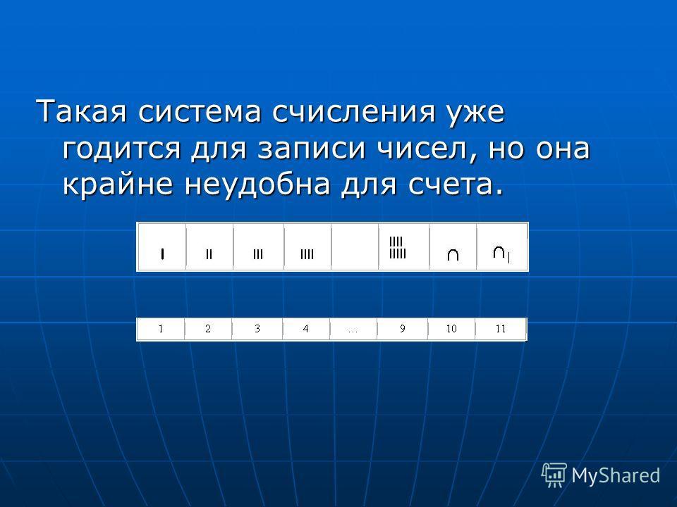 Такая система счисления уже годится для записи чисел, но она крайне неудобна для счета.