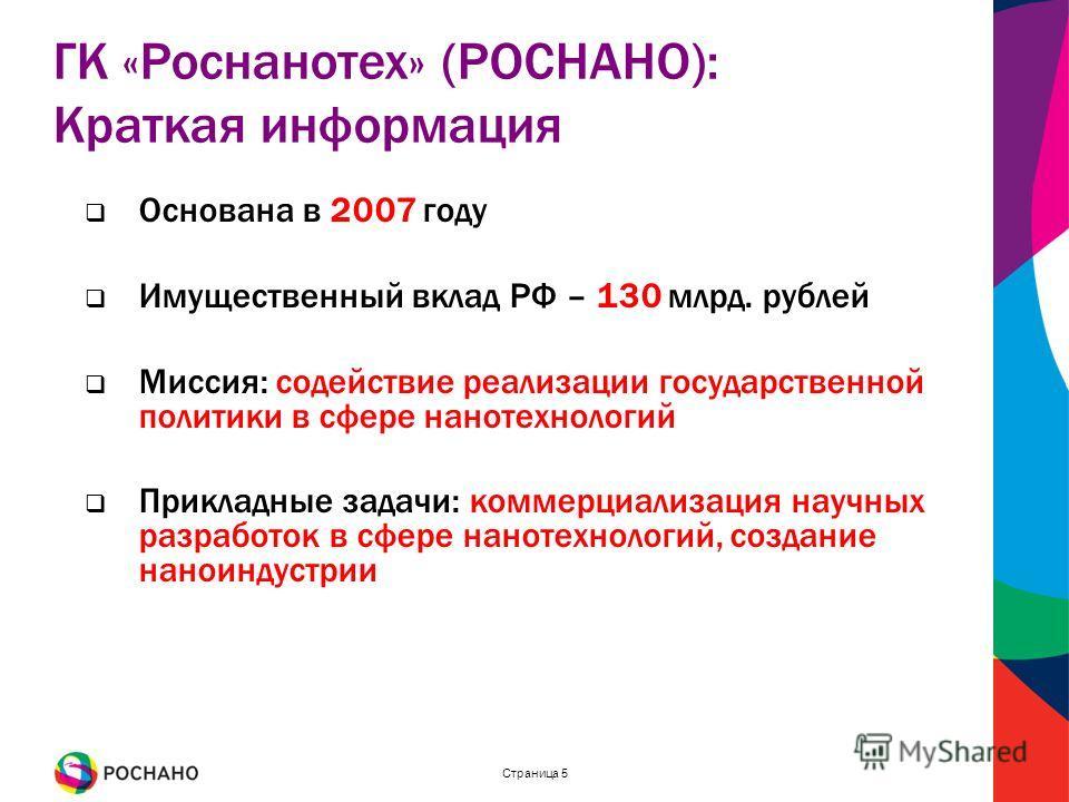 Страница 5 Основана в 2007 году Имущественный вклад РФ – 130 млрд. рублей Миссия: содействие реализации государственной политики в сфере нанотехнологий Прикладные задачи: коммерциализация научных разработок в сфере нанотехнологий, создание наноиндуст