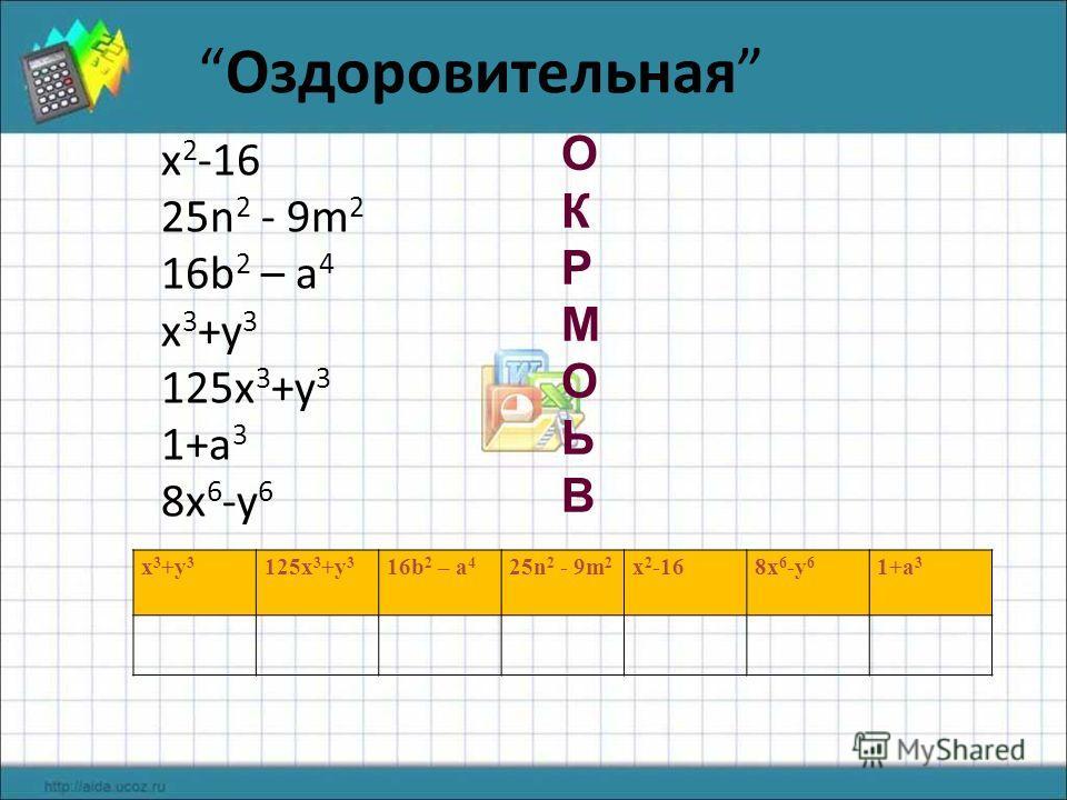 Оздоровительная x 2 -16 25n 2 - 9m 2 16b 2 – a 4 x 3 +y 3 125x 3 +y 3 1+a 3 8x 6 -y 6 ОКРМОЬВОКРМОЬВ x 3 +y 3 125x 3 +y 3 16b 2 – a 4 25n 2 - 9m 2 x 2 -168x 6 -y 6 1+a 3