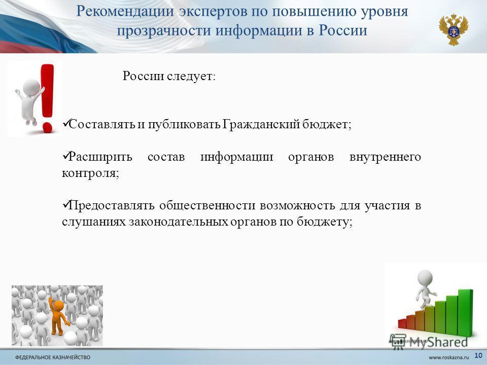 Рекомендации экспертов по повышению уровня прозрачности информации в России 10 Составлять и публиковать Гражданский бюджет; Расширить состав информации органов внутреннего контроля; Предоставлять общественности возможность для участия в слушаниях зак