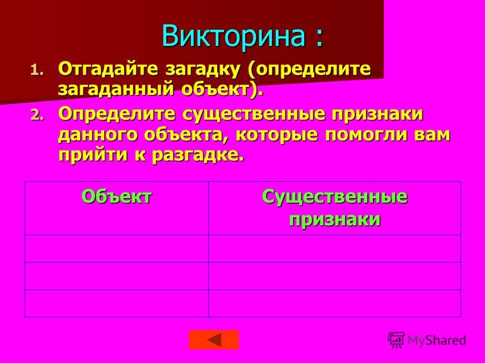 Викторина : 1. Отгадайте загадку (определите загаданный объект). 2. Определите существенные признаки данного объекта, которые помогли вам прийти к разгадке. Объект Существенные признаки