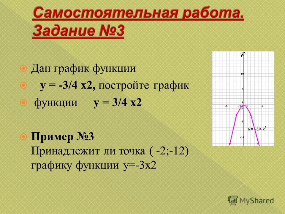 Дан график функции y = -3/4 x2, постройте график функции y = 3/4 x2 Пример 3 Принадлежит ли точка ( -2;-12) графику функции y=-3x2