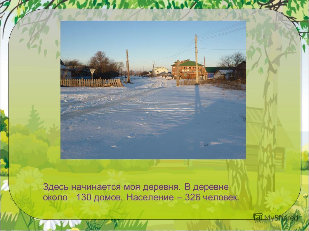 Здесь начинается моя деревня. В деревне около 130 домов. Население – 326 человек.
