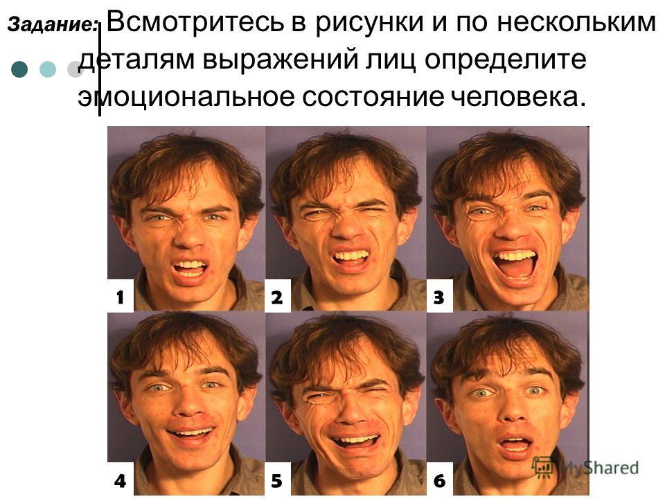 Задание: Всмотритесь в рисунки и по нескольким деталям выражений лиц определите эмоциональное состояние человека. 12 45 3 6
