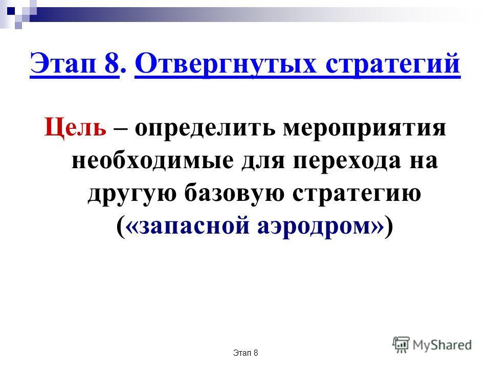 Этап 8 Этап 8. Отвергнутых стратегий Цель – определить мероприятия необходимые для перехода на другую базовую стратегию («запасной аэродром»)