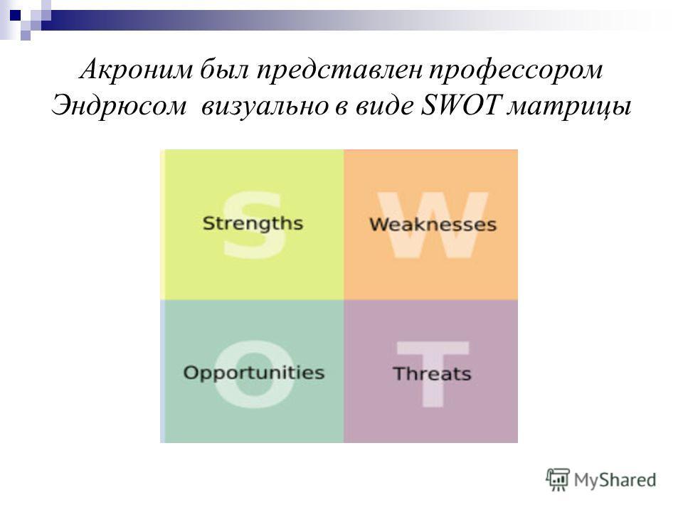 Акроним был представлен профессором Эндрюсом визуально в виде SWOT матрицы