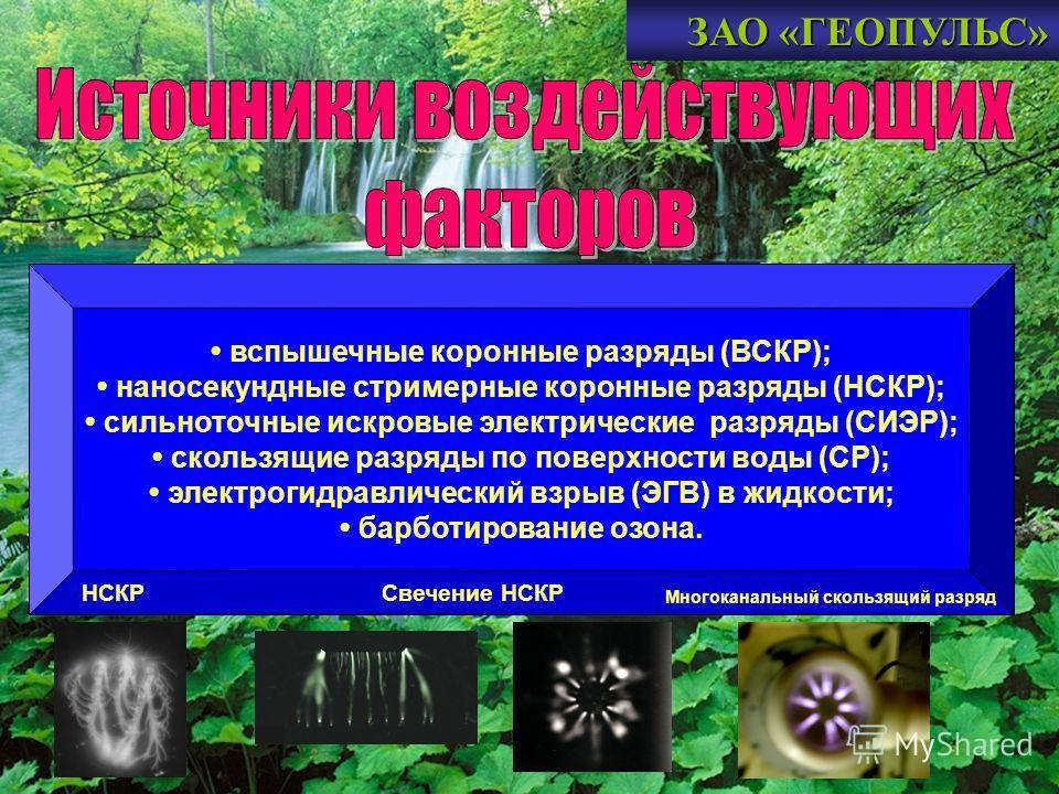 ЗАО «ГЕОПУЛЬС» вспышечные коронные разряды (ВСКР); наносекундные стримерные коронные разряды (НСКР); сильноточные искровые электрические разряды (СИЭР); скользящие разряды по поверхности воды (СР); электрогидравлический взрыв (ЭГВ) в жидкости; барбот