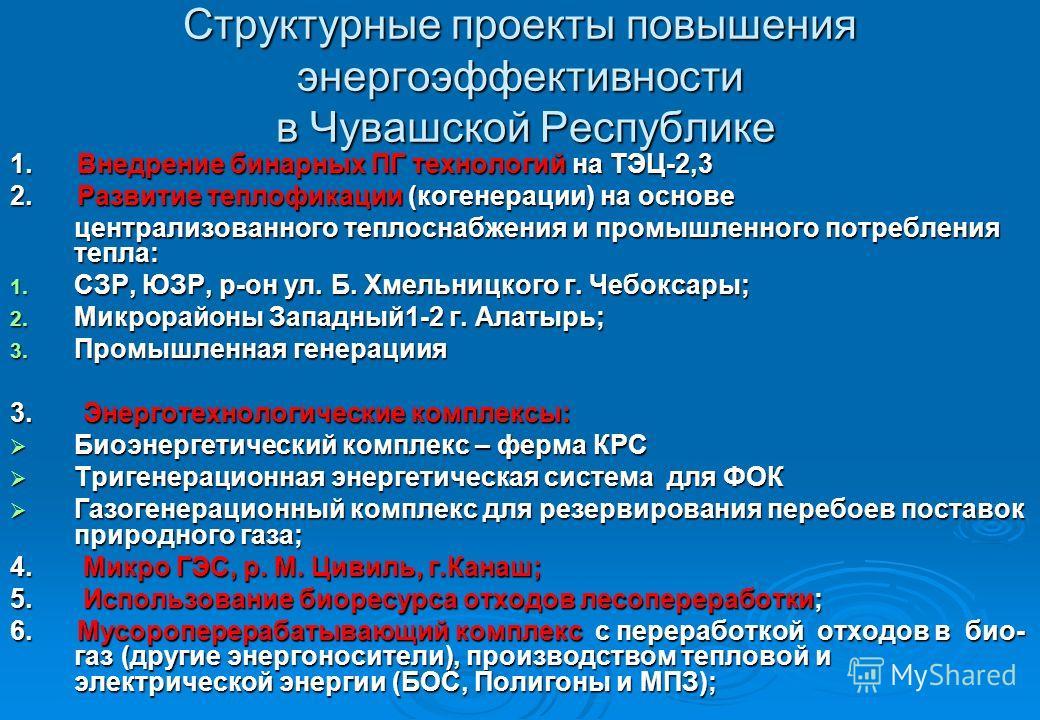 Структурные проекты повышения энергоэффективности в Чувашской Республике 1. Внедрение бинарных ПГ технологий на ТЭЦ-2,3 2. Развитие теплофикации (когенерации) на основе централизованного теплоснабжения и промышленного потребления тепла: 1. СЗР, ЮЗР,