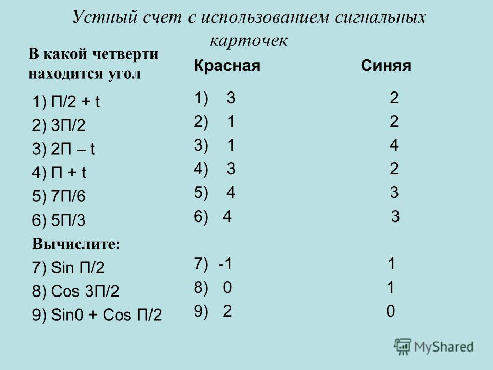 Устный счет с использованием сигнальных карточек В какой четверти находится угол 1) П/2 + t 2) 3П/2 3) 2П – t 4) П + t 5) 7П/6 6) 5П/3 Вычислите: 7) Sin П/2 8) Cos 3П/2 9) Sin0 + Cos П/2 Красная Синяя 1) 3 2 2) 1 2 3) 1 4 4) 3 2 5) 4 3 6) 4 3 7)-1 1