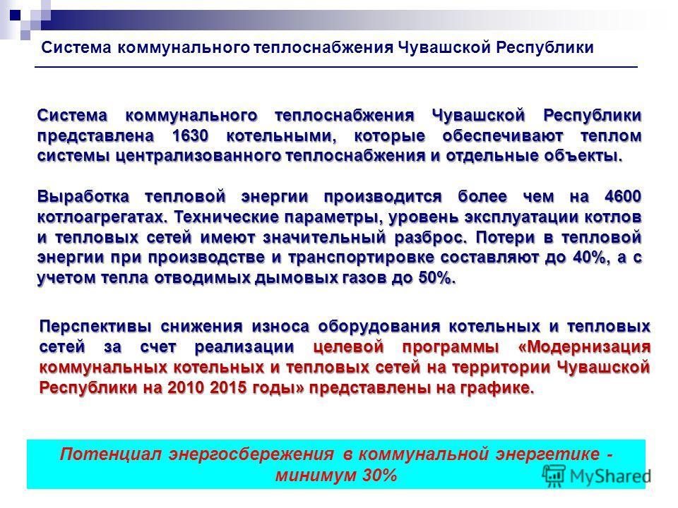 Система коммунального теплоснабжения Чувашской Республики Система коммунального теплоснабжения Чувашской Республики представлена 1630 котельными, которые обеспечивают теплом системы централизованного теплоснабжения и отдельные объекты. Выработка тепл