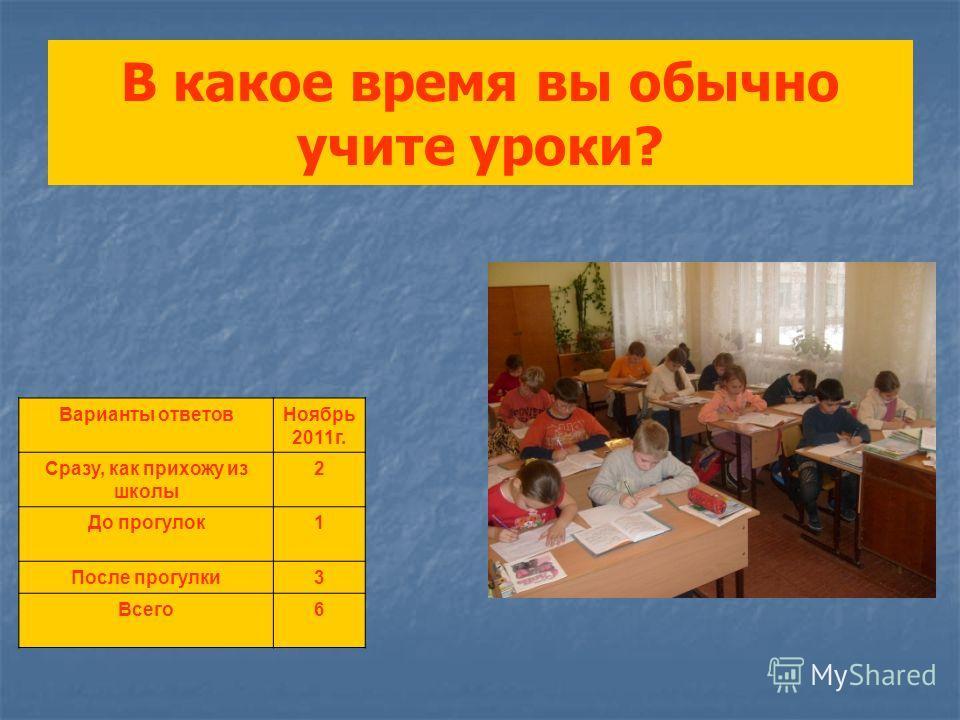 В какое время вы обычно учите уроки? Варианты ответовНоябрь 2011г. Сразу, как прихожу из школы 2 До прогулок1 После прогулки3 Всего6