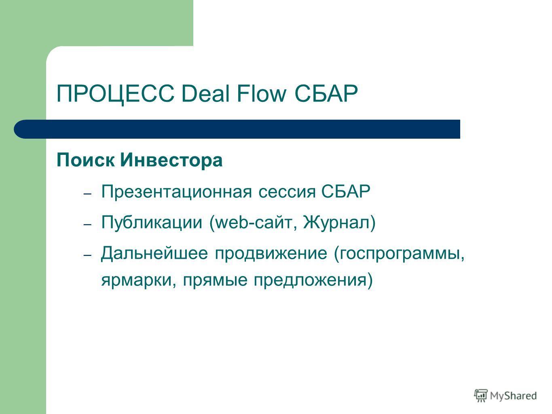 Поиск Инвестора – Презентационная сессия СБАР – Публикации (web-сайт, Журнал) – Дальнейшее продвижение (госпрограммы, ярмарки, прямые предложения) ПРОЦЕСС Deal Flow СБАР