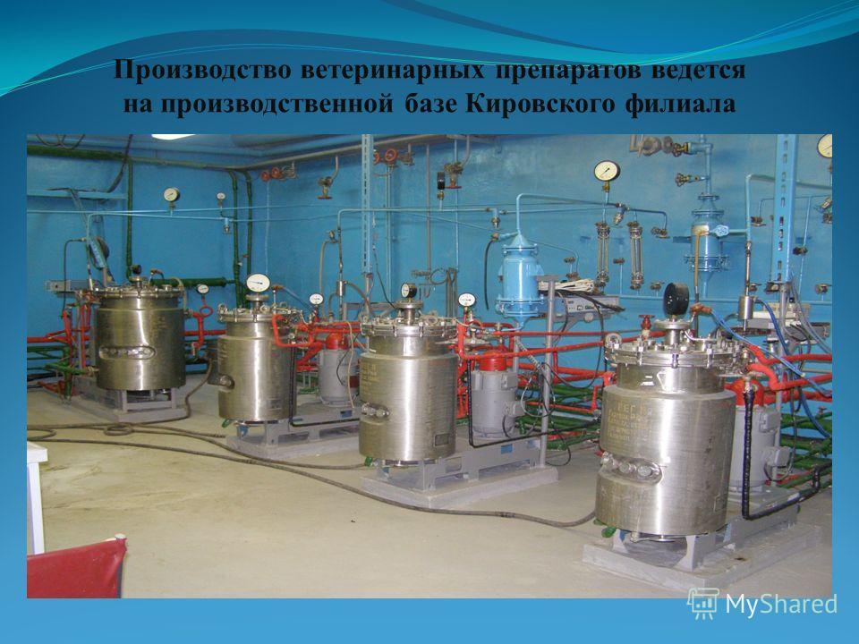 Производство ветеринарных препаратов ведется на производственной базе Кировского филиала