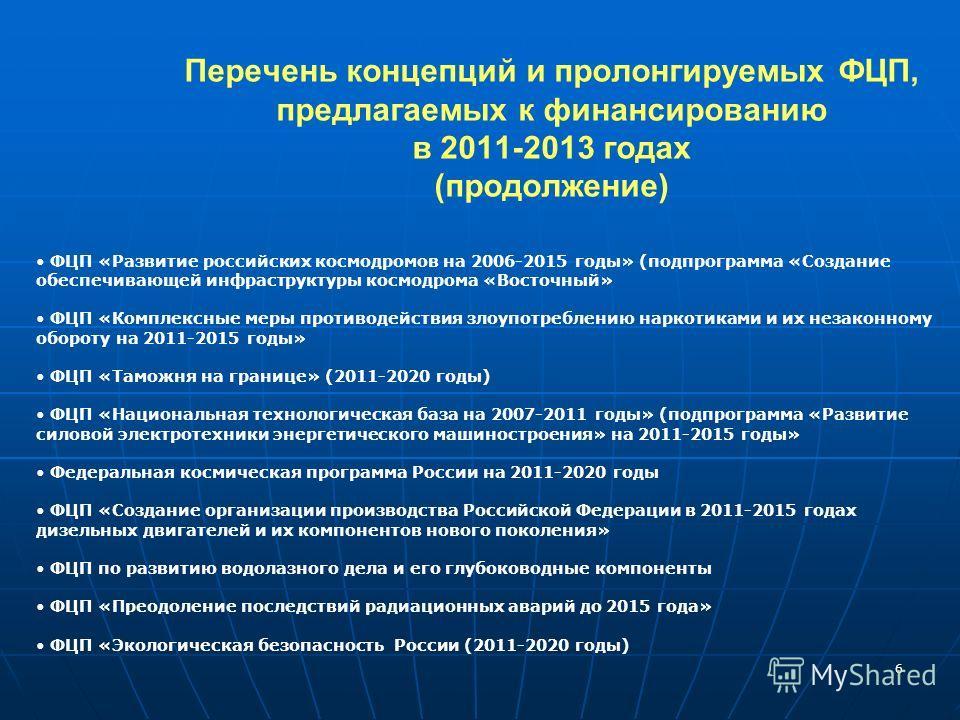 6 Перечень концепций и пролонгируемых ФЦП, предлагаемых к финансированию в 2011-2013 годах (продолжение) ФЦП «Развитие российских космодромов на 2006-2015 годы» (подпрограмма «Создание обеспечивающей инфраструктуры космодрома «Восточный» ФЦП «Комплек