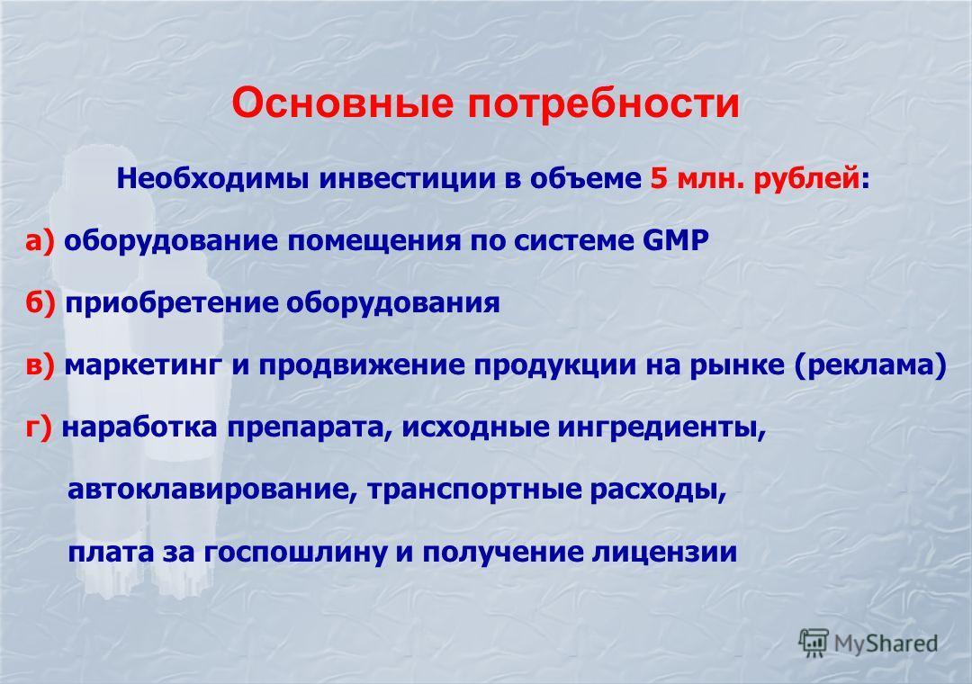 Основные потребности Необходимы инвестиции в объеме 5 млн. рублей: а) оборудование помещения по системе GMP б) приобретение оборудования в) маркетинг и продвижение продукции на рынке (реклама) г) наработка препарата, исходные ингредиенты, автоклавиро