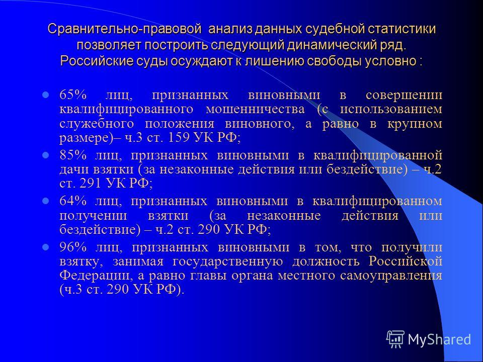 Сравнительно-правовой анализ данных судебной статистики позволяет построить следующий динамический ряд. Российские суды осуждают к лишению свободы условно : 65% лиц, признанных виновными в совершении квалифицированного мошенничества (с использованием