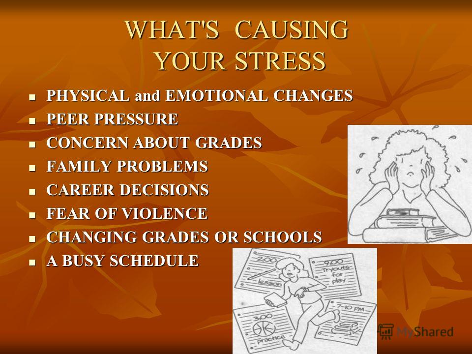 WHAT'S CAUSING YOUR STRESS PHYSICAL and EMOTIONAL CHANGES PHYSICAL and EMOTIONAL CHANGES PEER PRESSURE PEER PRESSURE CONCERN ABOUT GRADES CONCERN ABOUT GRADES FAMILY PROBLEMS FAMILY PROBLEMS CAREER DECISIONS CAREER DECISIONS FEAR OF VIOLENCE FEAR OF