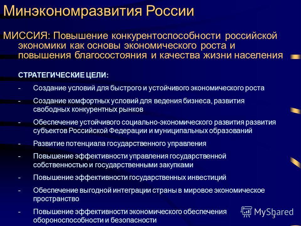 3 Минэкономразвития России СТРАТЕГИЧЕСКИЕ ЦЕЛИ: -Создание условий для быстрого и устойчивого экономического роста -Создание комфортных условий для ведения бизнеса, развития свободных конкурентных рынков -Обеспечение устойчивого социально-экономическо