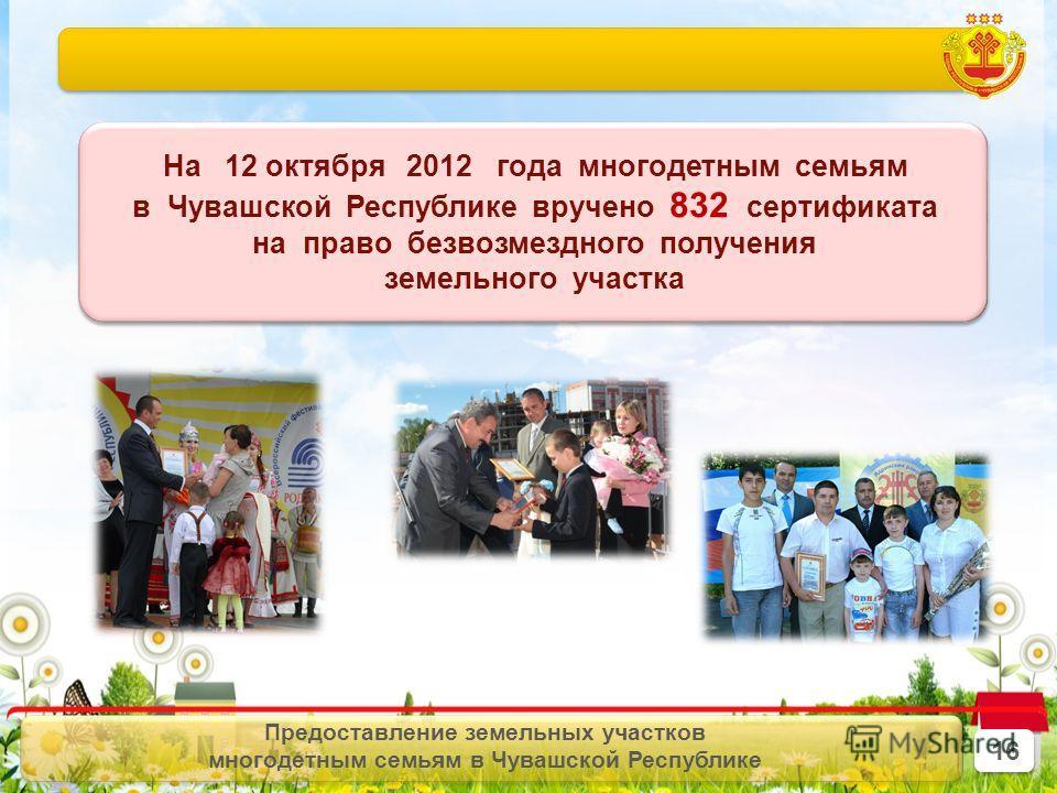 Предоставление земельных участков многодетным семьям в Чувашской Республике На 12 октября 2012 года многодетным семьям в Чувашской Республике вручено 832 сертификата на право безвозмездного получения земельного участка На 12 октября 2012 года многоде