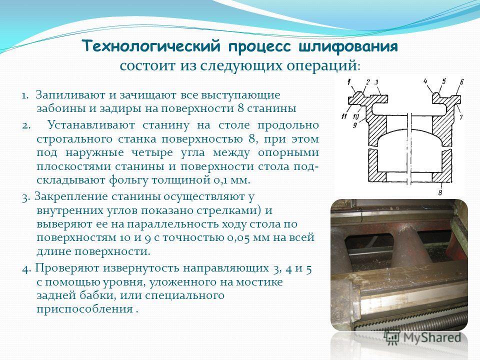 Технологический процесс шлифования состоит из следующих операций : 1. Запиливают и зачищают все выступающие забоины и задиры на поверхности 8 станины 2. Устанавливают станину на столе продольно строгального станка поверхностью 8, при этом под наружны