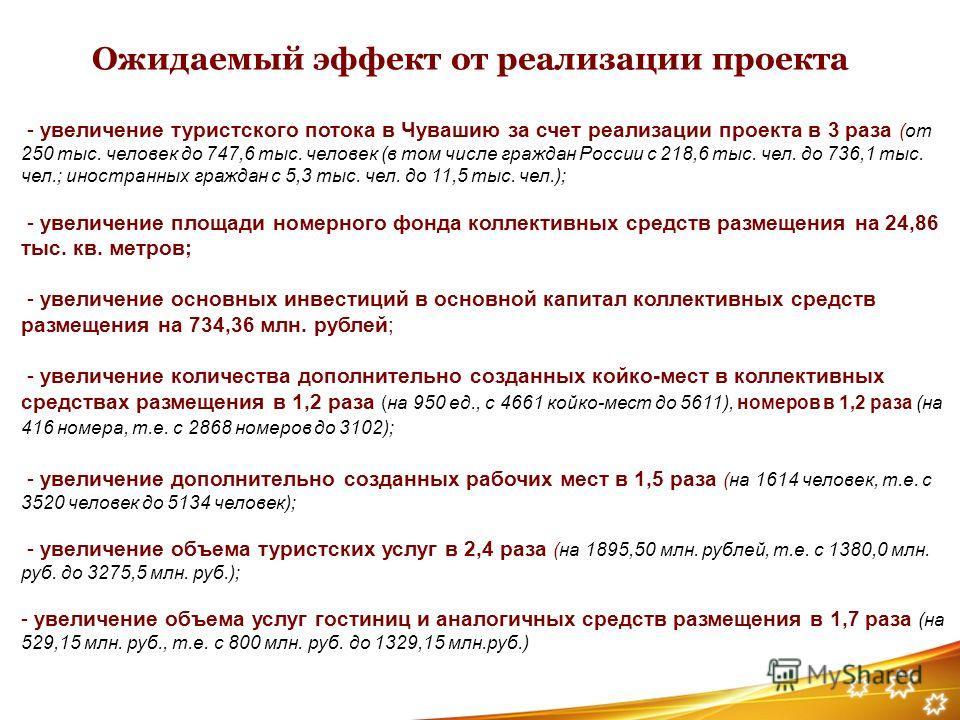 Ожидаемый эффект от реализации проекта - увеличение туристского потока в Чувашию за счет реализации проекта в 3 раза (от 250 тыс. человек до 747,6 тыс. человек (в том числе граждан России с 218,6 тыс. чел. до 736,1 тыс. чел.; иностранных граждан с 5,