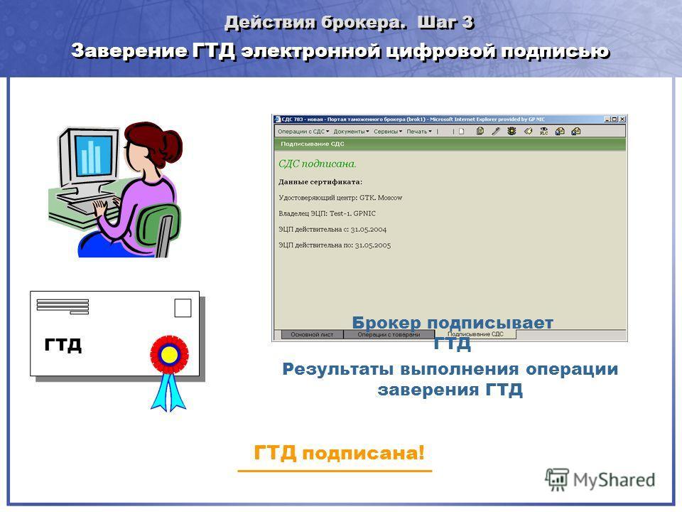 Заверение ГТД электронной цифровой подписью Результаты выполнения операции заверения ГТД Брокер подписывает ГТД ГТД подписана! ГТД Действия брокера. Шаг 3