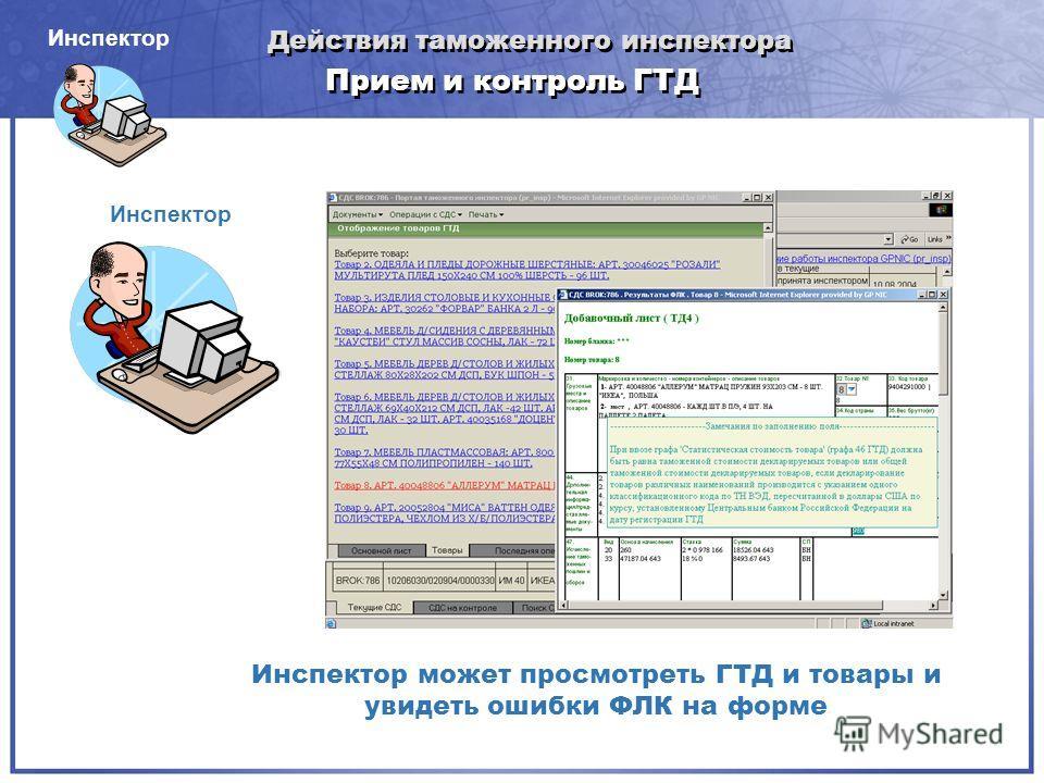 Прием и контроль ГТД Инспектор может просмотреть ГТД и товары и увидеть ошибки ФЛК на форме Инспектор Действия таможенного инспектора Инспектор