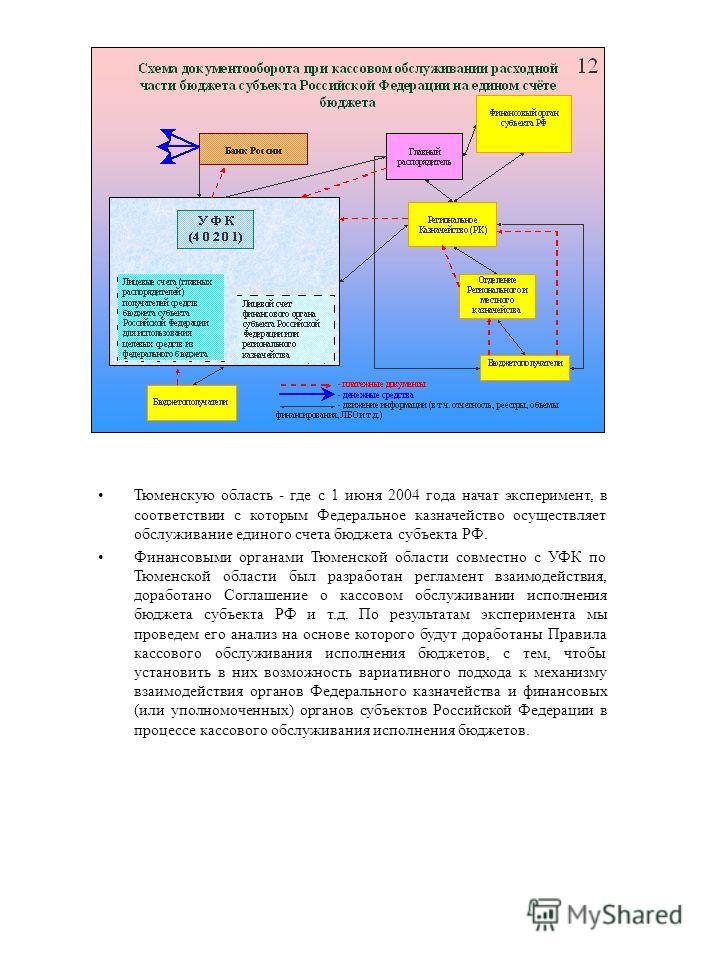 Тюменскую область - где с 1 июня 2004 года начат эксперимент, в соответствии с которым Федеральное казначейство осуществляет обслуживание единого счета бюджета субъекта РФ. Финансовыми органами Тюменской области совместно с УФК по Тюменской области б