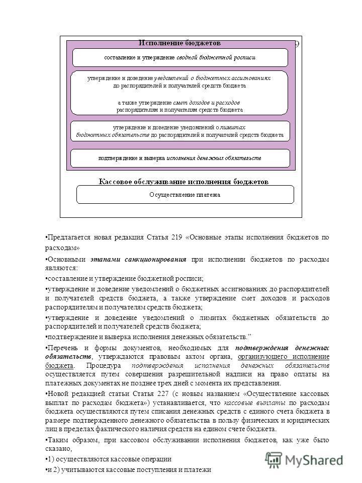 Предлагается новая редакция Статья 219 «Основные этапы исполнения бюджетов по расходам» Основными этапами санкционирования при исполнении бюджетов по расходам являются: составление и утверждение бюджетной росписи; утверждение и доведение уведомлений