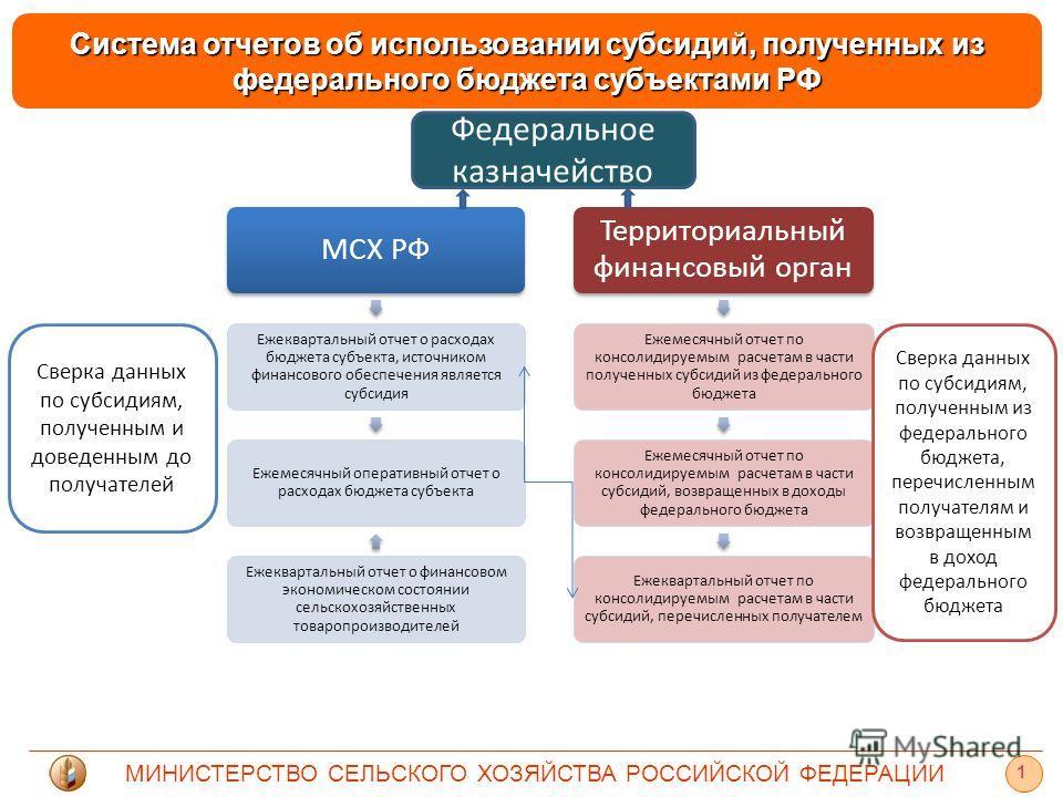 МИНИСТЕРСТВО СЕЛЬСКОГО ХОЗЯЙСТВА РОССИЙСКОЙ ФЕДЕРАЦИИ 1 Система отчетов об использовании субсидий, полученных из федерального бюджета субъектами РФ МСХ РФ Ежеквартальный отчет о расходах бюджета субъекта, источником финансового обеспечения является с