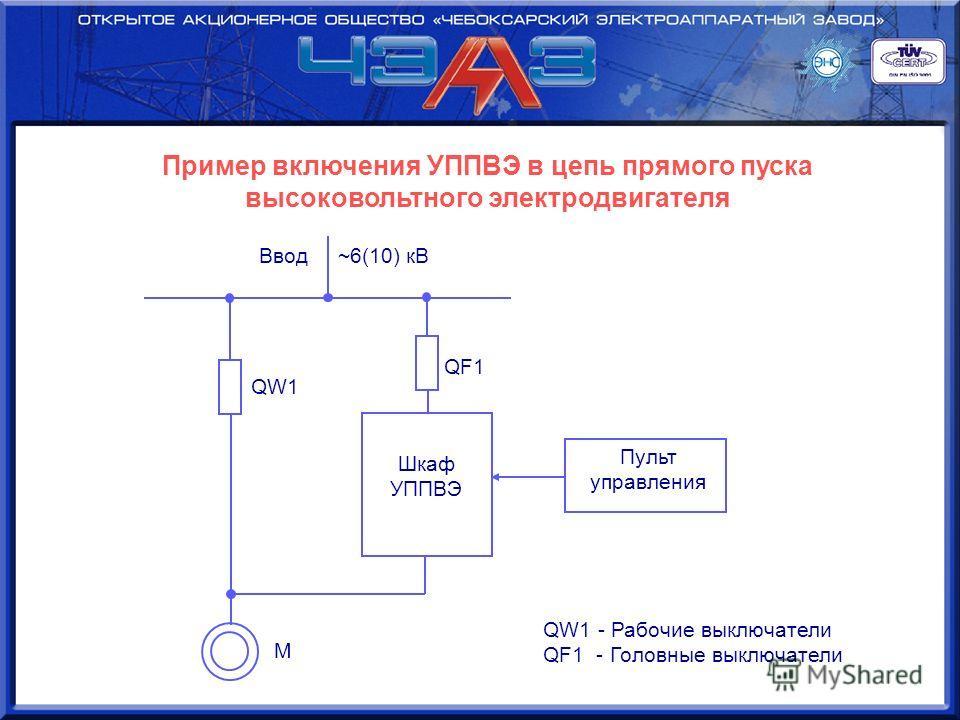 Пример включения УППВЭ в цепь прямого пуска высоковольтного электродвигателя Ввод ~6(10) кВ QW1 М QF1 Шкаф УППВЭ Пульт управления QW1 - Рабочие выключатели QF1 - Головные выключатели