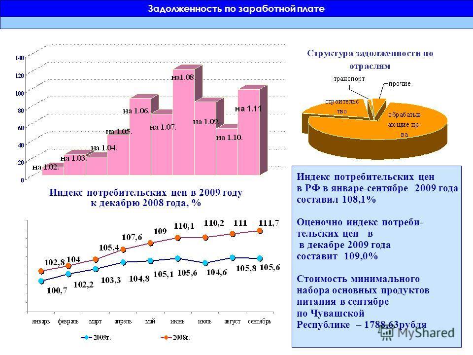 Индекс потребительских цен в 2009 году к декабрю 2008 года, % Индекс потребительских цен в РФ в январе-сентябре 2009 года составил 108,1% Оценочно индекс потреби- тельских цен в в декабре 2009 года составит 109,0% Стоимость минимального набора основн