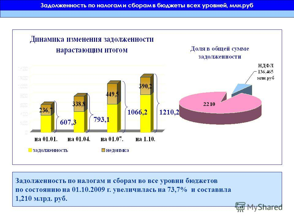 Задолженность по налогам и сборам в бюджеты всех уровней, млн.руб 607,3 793,1 1066,2 Задолженность по налогам и сборам во все уровни бюджетов по состоянию на 01.10.2009 г. увеличилась на 73,7% и составила 1,210 млрд. руб. 1210,2