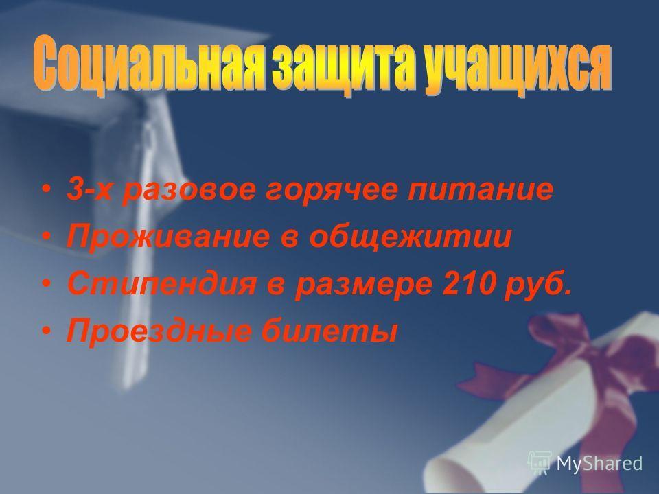 3-х разовое горячее питание Проживание в общежитии Стипендия в размере 210 руб. Проездные билеты